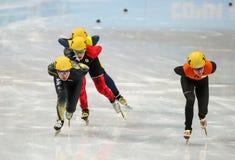 Ladies' 1000 m Heats Short Track Heats. Sochi, RUSSIA - February 18, 2014: Yara VAN KERKHOF (NED) No.144 at Ladies' 1000 m Short Track Heats at the Sochi 2014 Royalty Free Stock Image