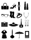 Ladies makeup and accessories icons Royalty Free Stock Photography