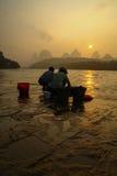 Early Work Start. Sunrise Yangshuo China Royalty Free Stock Image