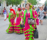 Ladies in matching Flamenco dresses Royalty Free Stock Photos