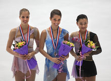 Ladies medallists-ISU Grand Prix of Figure Skating Stock Photo