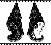 Ladies in medieval hats Stock Photos