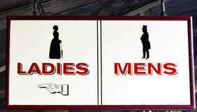 Ladies and Mens restrooms sign Royalty Free Stock Images