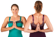 Ladies In Namaskar Posture Stock Images