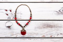 Ladies necklace from colored stones. royalty free stock images