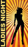 Ladies Night Bar or Club Poster. Ladies Night bar or club flyer poster with woman silhouette and yellow sun burst Stock Photography