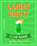 Ladies night cocktail party poster. Ladies night cocktail party green advertising poster, vector illustration Stock Images