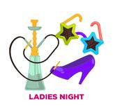 Ladies night party or dance music club vector icons for and birthday holiday celebration of shisha and heels. Ladies night party or dance disco club vector icons Stock Image
