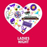 Ladies night party vector heart poster. Ladies night party or girls birthday celebration heart poster. Vector design of fashion limousine car, glamor sunglasses Stock Images