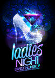 Ladies night poster with high heeled diamond crystals shoes and cocktail. Royalty Free Stock Photo