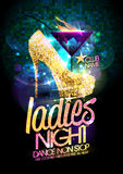 Ladies night vector illustration with gold high heeled shoes and burning cocktail. Ladies night vector illustration with gold crystals high heeled shoes and Stock Photos