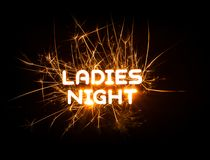 LADIES NIGHT word in glowing sparkler Stock Photography