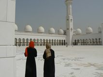 Ladies outside Grand Mosque, Abu Dhabi, UAE Stock Photo