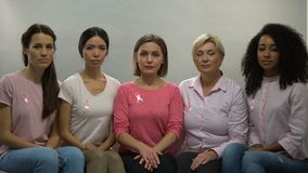 Ladies with pink ribbons looking in camera, moral support breast cancer patients. Stock footage stock footage