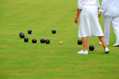 Ladies playing bowls. Senior ladies playing lawn bowls in England Royalty Free Stock Photography