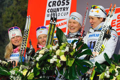 The Ladies podium in Milan team sprint Race Royalty Free Stock Photo