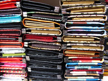 Ladies Purse. Stack of colorful ladies purse for sale Stock Image