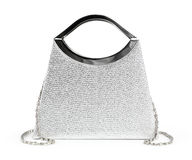 Ladies Purse. Shiny silver retro fashion ladies purse. Isolated on white background Stock Images