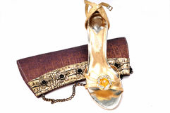 Ladies purse and footwear Stock Photos