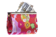 Ladies Purse with Money Isolated Stock Photography