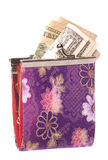 Ladies Purse with Money Isolated Stock Photos