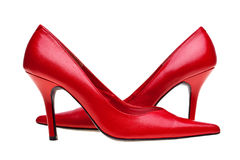 Ladies red high heels shoes isolated Stock Images
