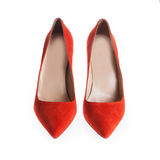 Ladies red leather shoes Stock Image