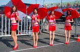 Ladies in red at Moscow City Racing Stock Images
