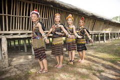 Ladies from Rungus ethnic wearing traditional costume. Stock Photo