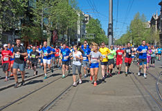 Ladies running marathon race in Belgrade, Serbia Royalty Free Stock Image