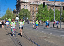 Ladies running marathon run in Belgrade, Serbia Stock Photo