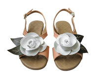 Ladies sandals with white leather rose Royalty Free Stock Photo