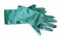 Ladies satin gloves. On a white background Royalty Free Stock Photo