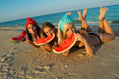 Ladies at sea with watermelon Royalty Free Stock Photo