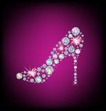 Ladies shoe. Elegant ladies shoe, made with shiny diamonds Royalty Free Stock Photo