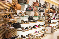 Ladies Shoe and Bag. Shelves of ladies leather shoe and bag Stock Photography