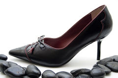 Ladies shoe with black stones Stock Photography