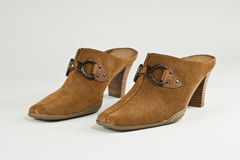 Ladies shoes. Comfortable, stylish ladies shoes, slides Royalty Free Stock Image