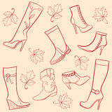 Ladies shoes. Autumn season ladies shoes royalty free illustration