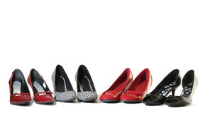 Ladies shoes. Four pairs of ladies high heel shoes stock photography