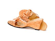 Ladies shoes. Pair of ladies shoes (sandals Stock Photo