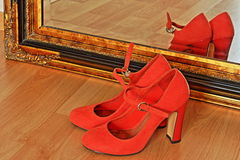 Ladies shoes. Foto detaile in colours Royalty Free Stock Photo