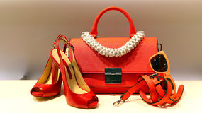 Ladies shoes, handbag and accessories. Elegant ladies shoes, sunglass, leather belt and handbag on display Stock Image