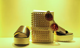 Ladies shoes, handbag and eyeware Royalty Free Stock Photo