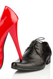 Ladies shoes and men's shoes Stock Photos