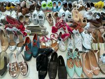 Ladies shoes. Variety of ladies shoes in a shop Stock Images