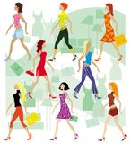 Ladies in the shop. Young modern ladies doing shopping Vector Illustration