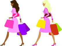 Ladies after shopping. Two elegant ladies (which are the blonde and the brunette) are carrying colorful shopper bags Stock Image