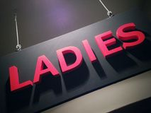 Ladies sign. Hanging from the ceiling stock image