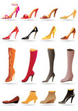 Ladies slippers, shoes and boots Royalty Free Stock Photography